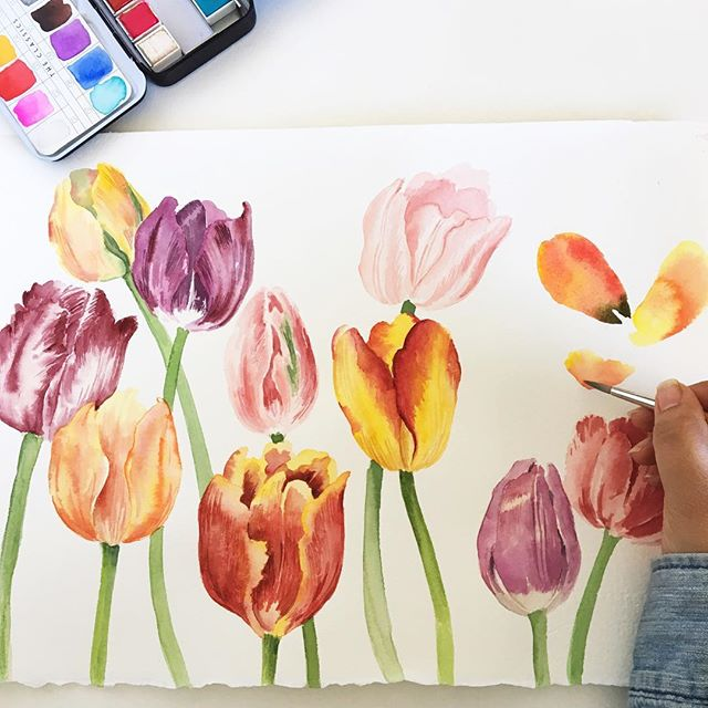 The first day of Spring is only SIX days away!!!! To celebrate I'm teaching a watercolor tulip class this Monday March 18, 6:30-8:30 pm @flourishflowersandgifts. Grab your favorite tulip enthusiasts 🌷👨‍🎨👩‍🎨and join us as we welcome Spring! We're not responsible for all the tulips to you'll want to pick & paint from @texas.tulips 🌷🌷🌷🌷🌷🌷🌷🌷🌷🌷🌷🌷🌷🌷🌷🌷! Link in profile. . . . . . . .  #lewisvilletx #dentontx #dentoning #argyletx #flowermoundtx #tulips #tulip #abmspring #spring #dsfloral #bghflowers #inspiredbypetals #watercolorpainting #artphilosophy  #blooms #floralillustration