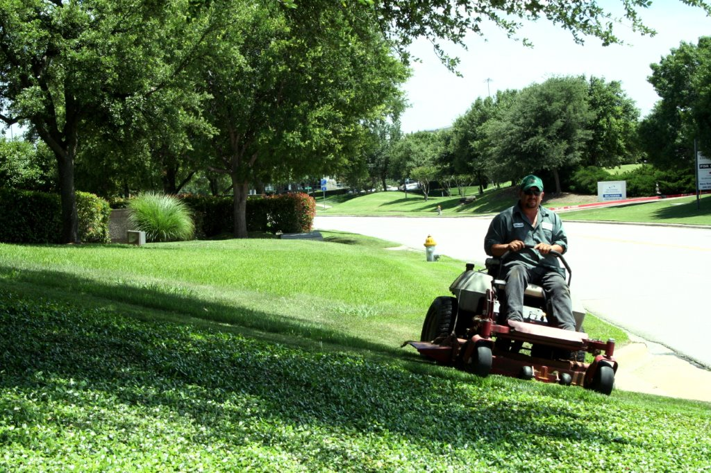 lawnmower on corporate campus grounds