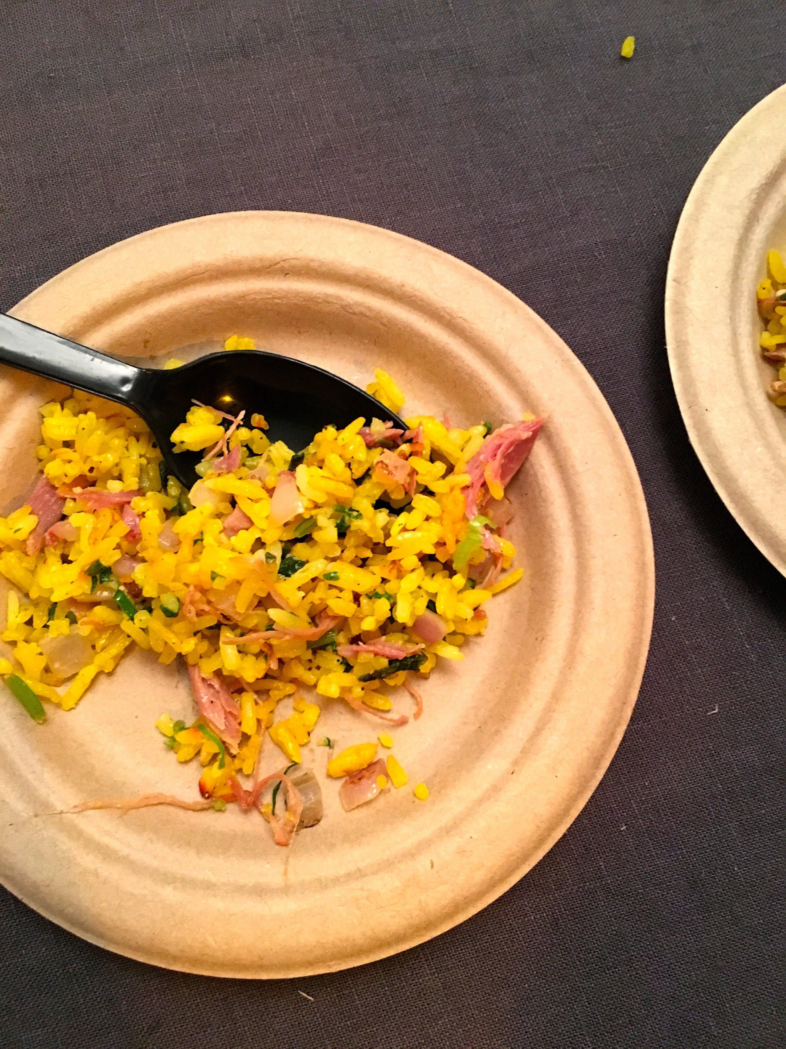 Saffron Fried Rice. Duck Confit, Lacinato Kale, Sundried Blueberries. Viviane.
