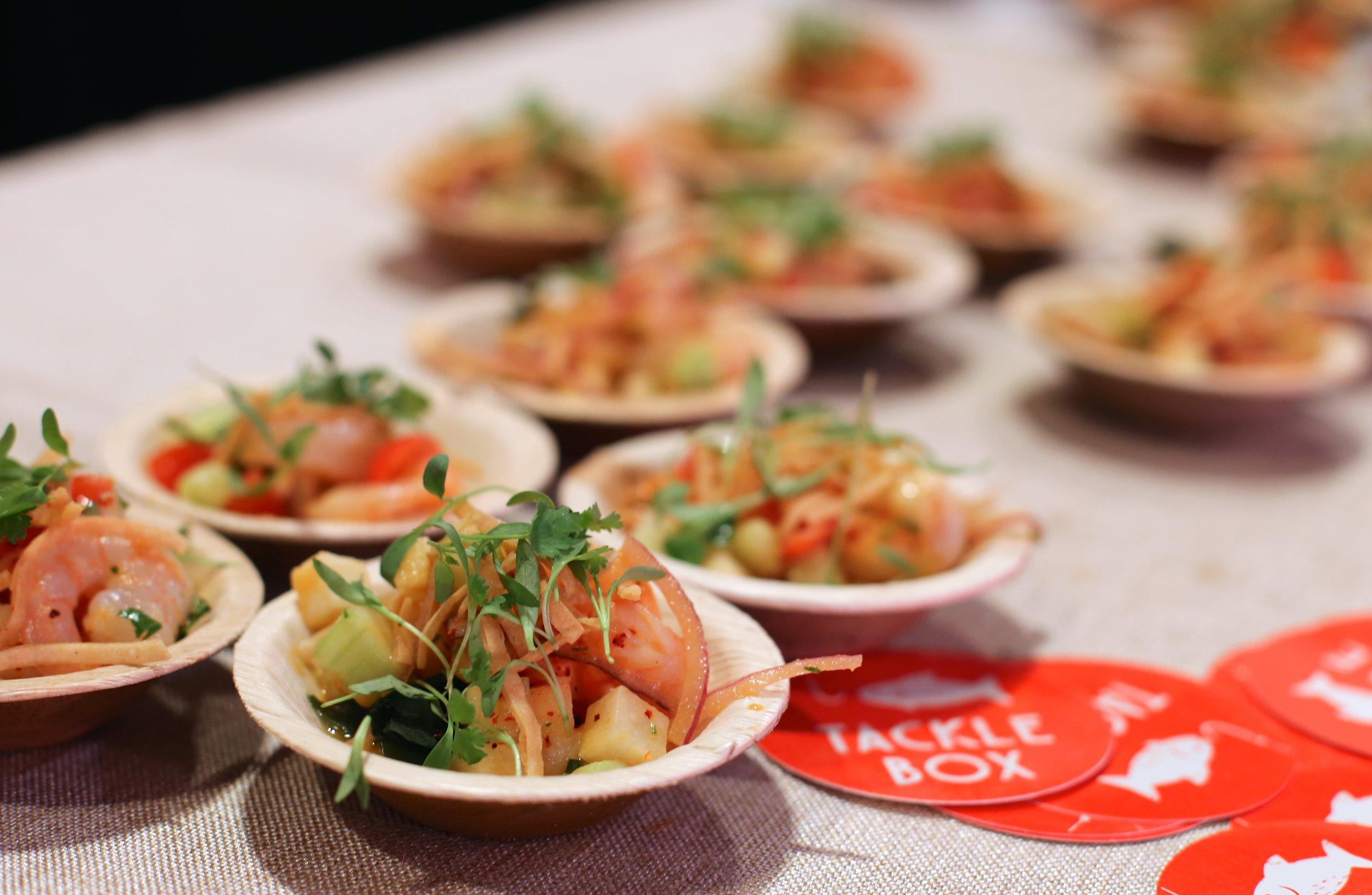 """Shrimp """"michelada"""" ceviche, jicama, cucumber & chili-lime. Chef Brian Huskey. Tackle Box. Orange County."""