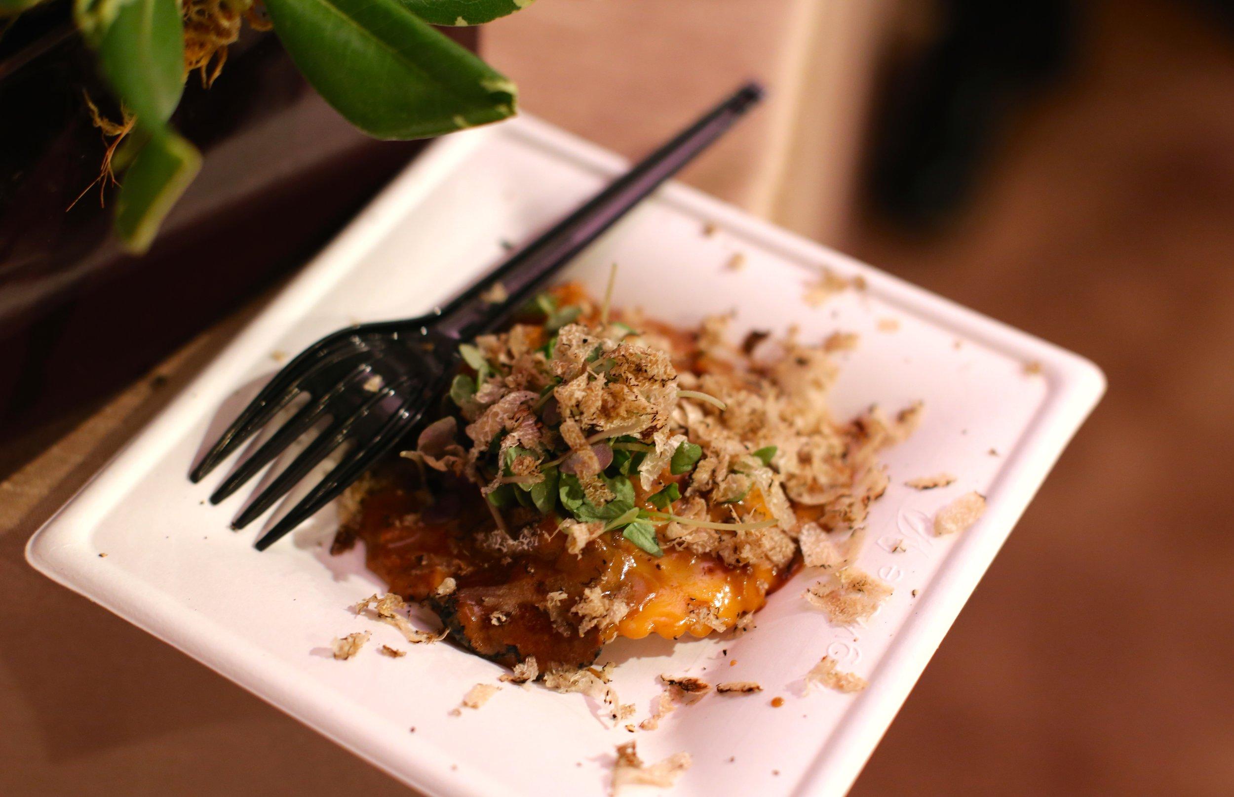 Portobello mushroom & truffle ravioli by Chef Mark Mollica. La Vecchia. Santa Monica.