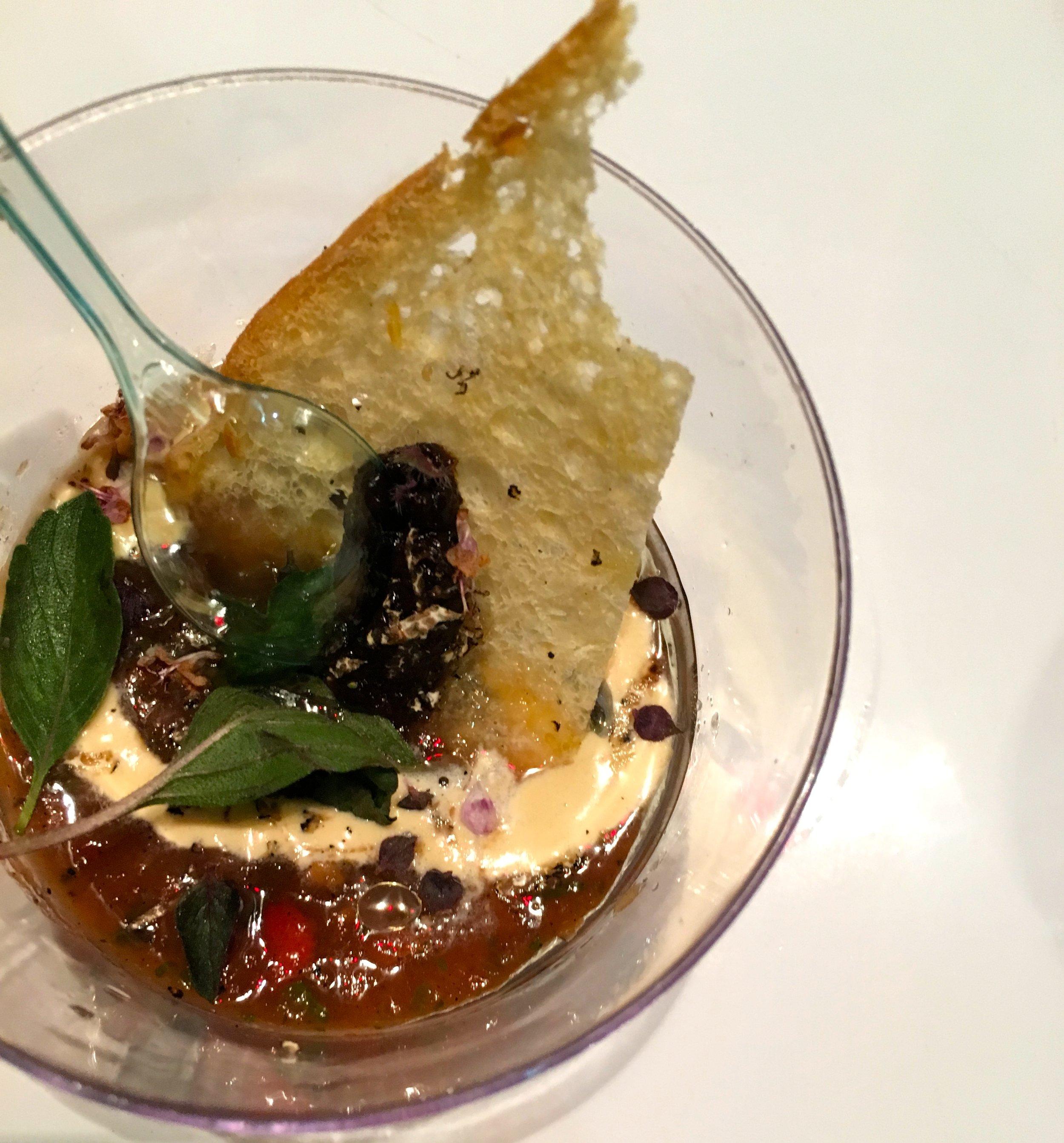 Truffled tomato gazpacho, whipped uni mascarpone, basil blossoms, charcoal roasted garlic toast. Chef Dakota Weiss. Estrella Sunset. Los Angeles.