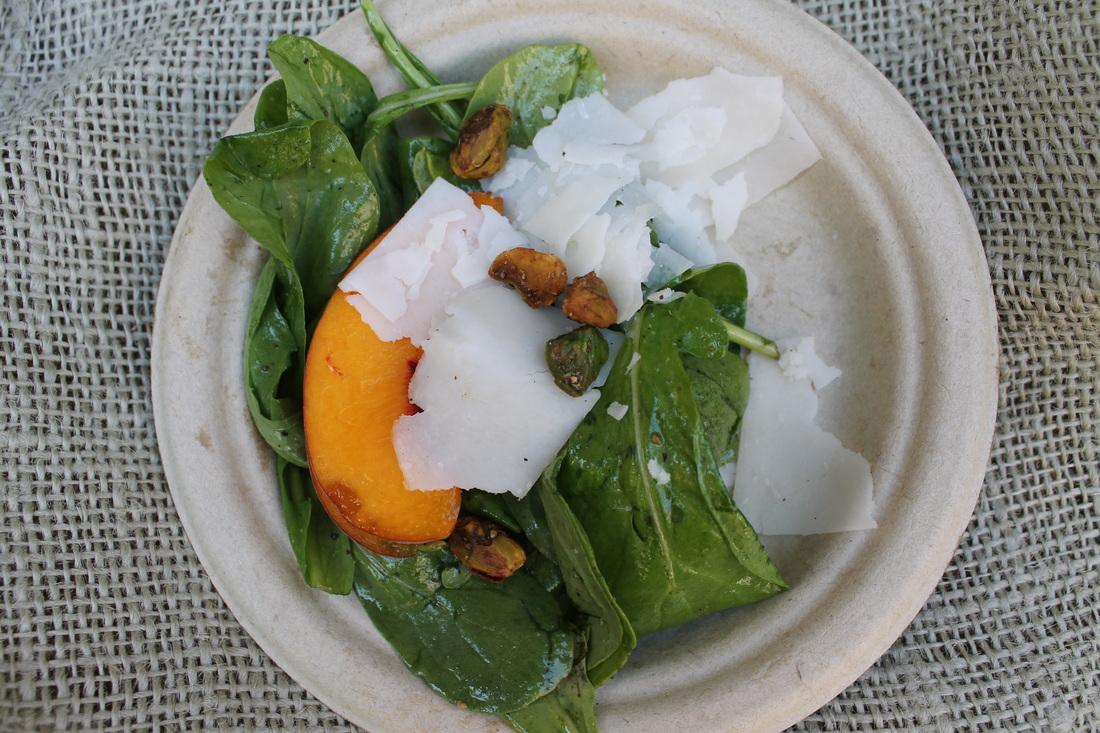 Peach Salad, Arugula, Pistachios, Goat Gouda, Balsamic Vinaigrette. Reiger Farms.