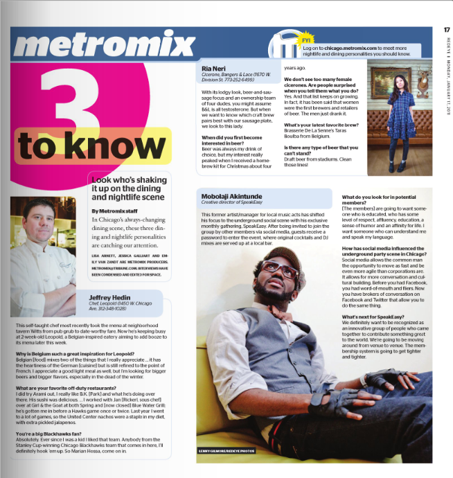 "REDEYE/CHICAGO TRIBUNE METROMIX ""3 TO KNOW"" FEATURE"