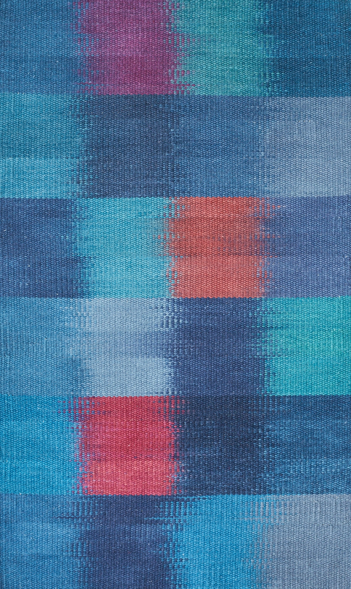 JJ0141  Cotton & linen. Hand dyed painted weft. 82 x 131 cm.