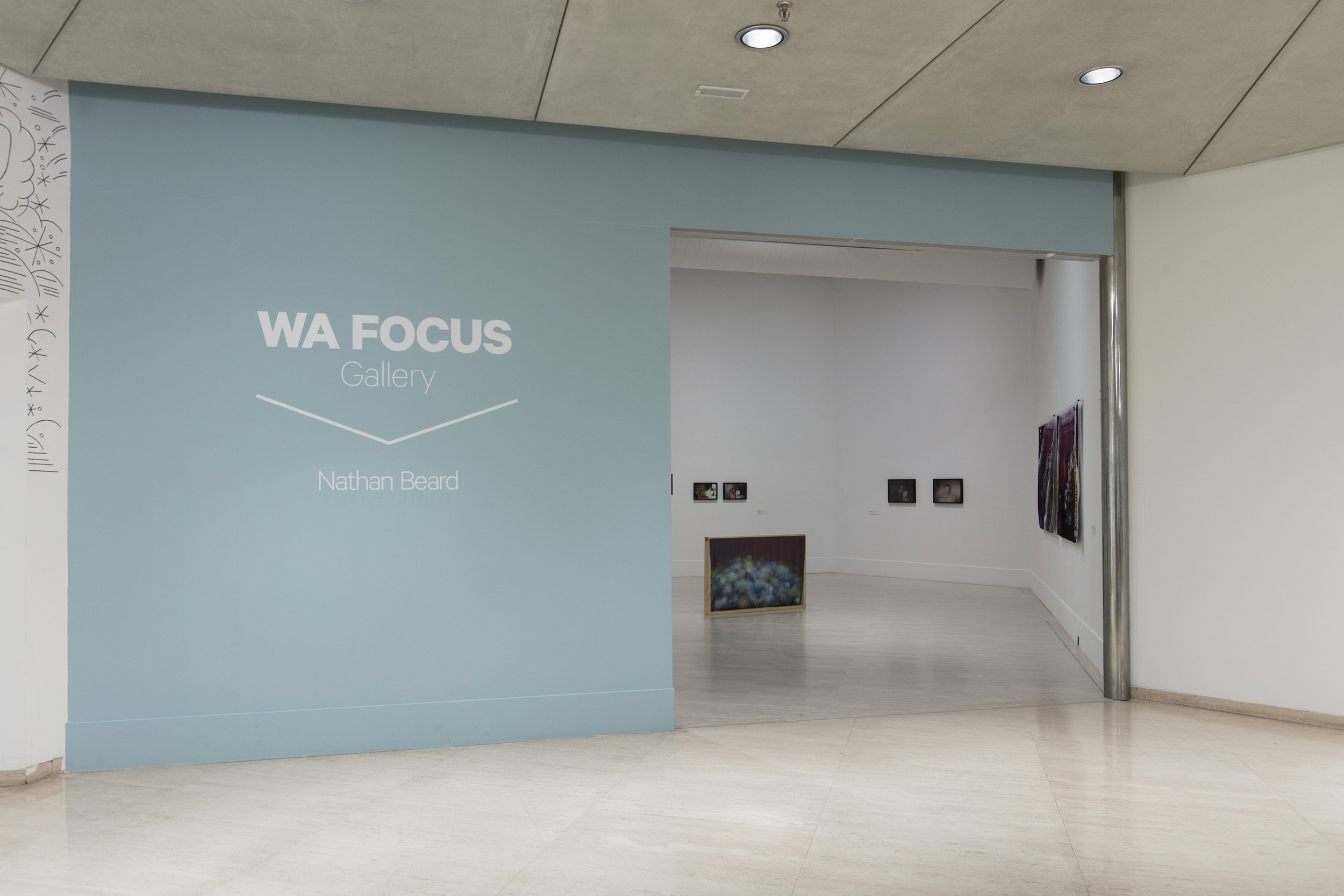 WA Focus exhibition entrance.  1 April - 28 May 2017 Curated by Jenepher Duncan. Image courtesy of the Art Gallery of Western Australia. Photographer: Bo Wong