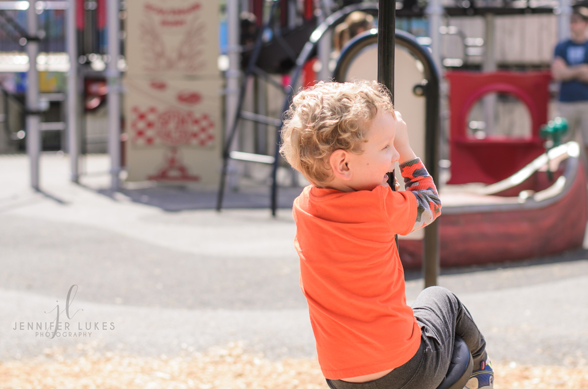 Boy Riding Zipline  Luther Burbank Park