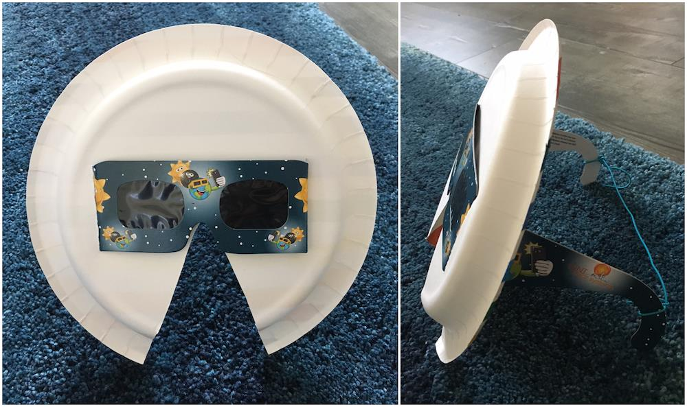 The eclipse glasses with a paper plate shield I found on Everyday Einstein's facbook page. The original idea came from Angela Rizzi of Our Lady of Mount Carmel School in Newport News, VA.