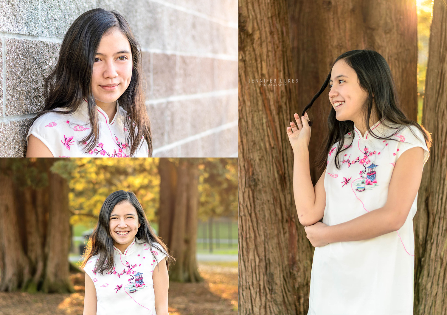 Seattle tween girl photo session representing her Chinese heritage in a white cheongsam with pink and blue embroidery.