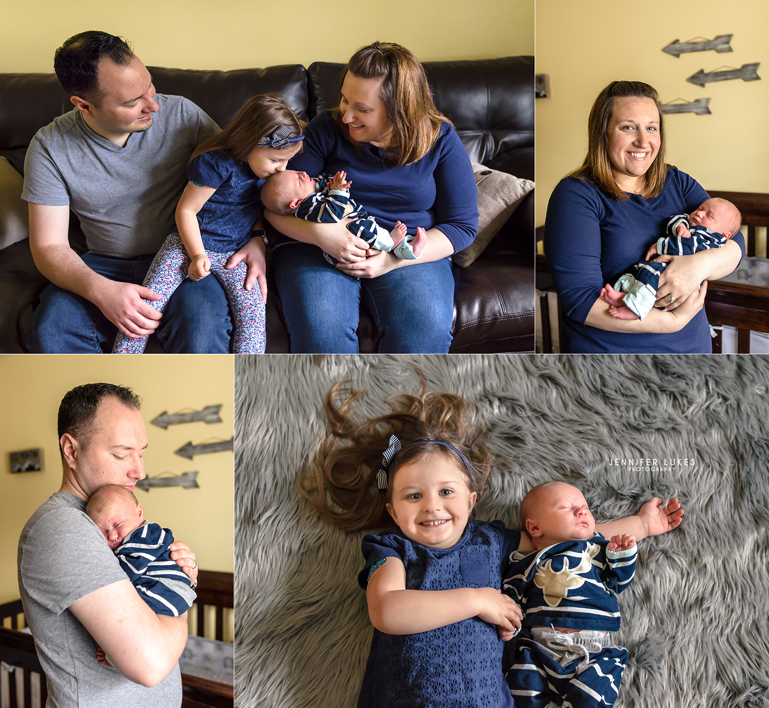 Natural light in-home lifestyle newborn photography session in Sammamish with family in various shades of navy, gray, and gold.