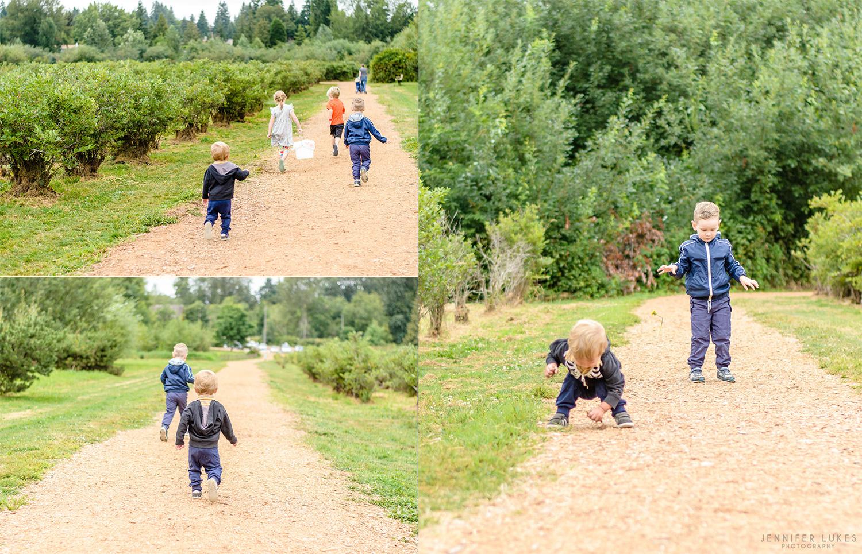 kids running through bellevue blueberry field