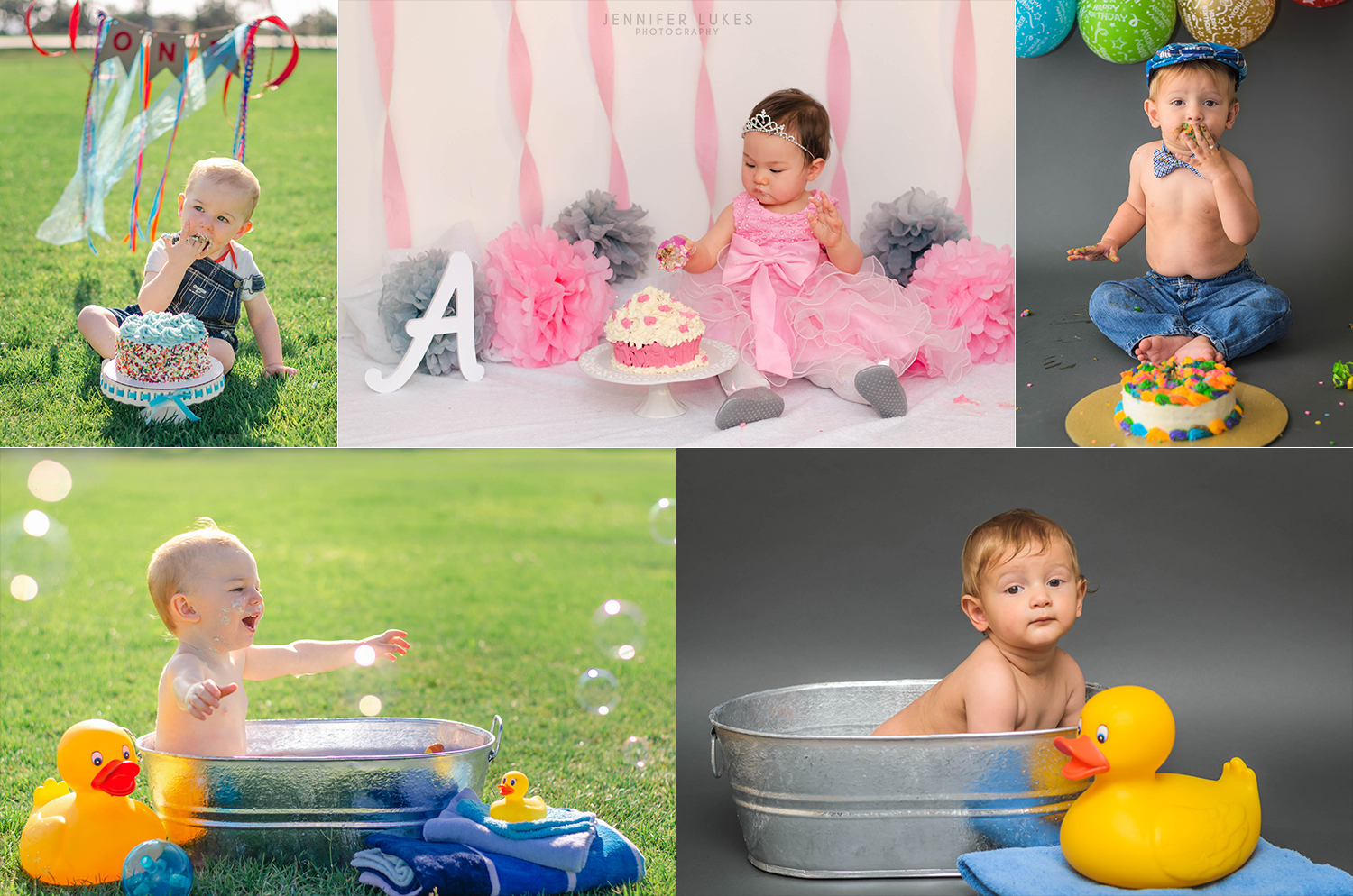 Bellevue, Washington first birthday cake smash and splash photos.