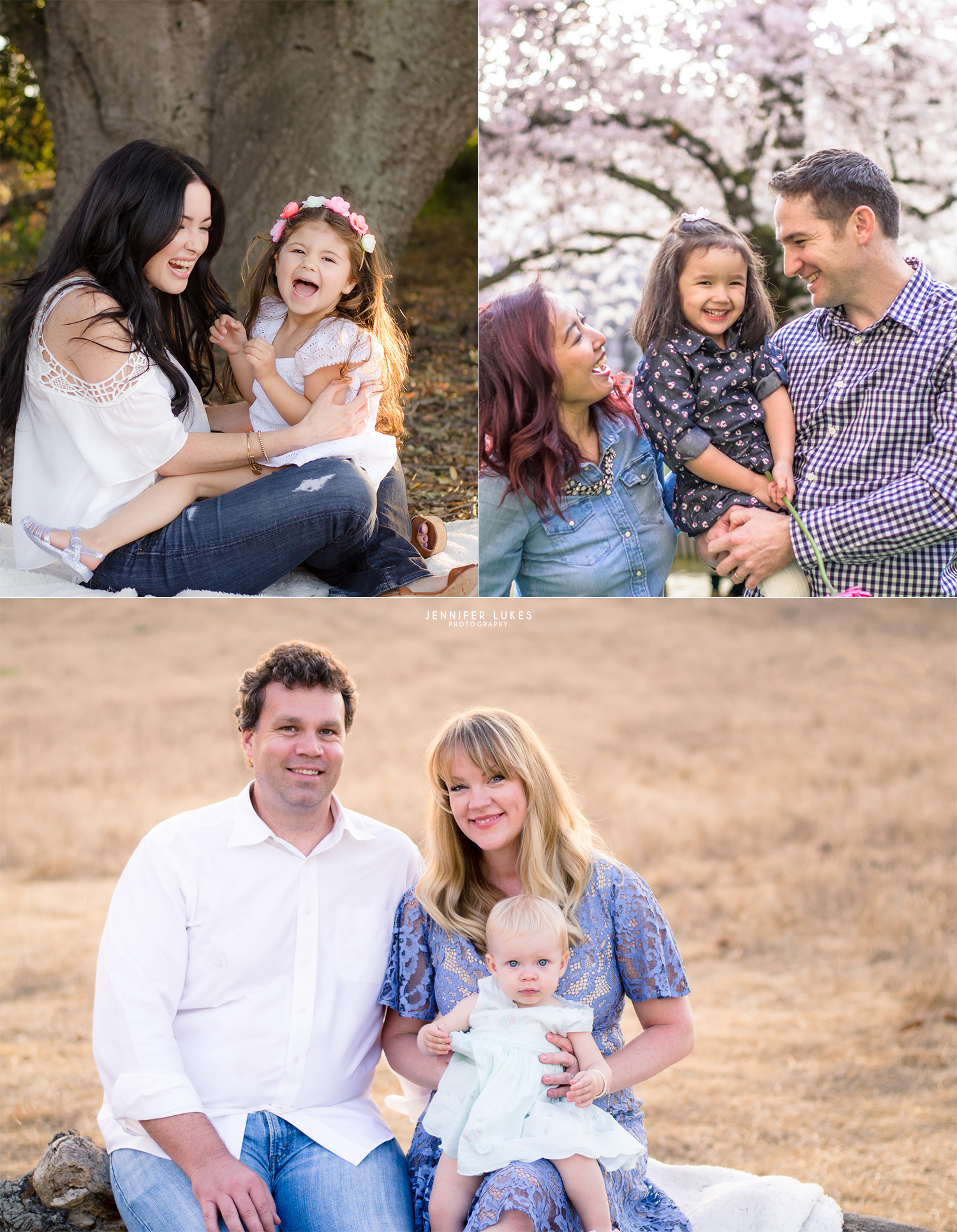 Three family photos showing different photography styles from candid to posed.