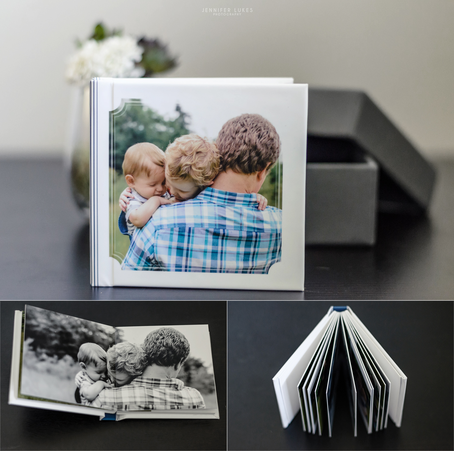 Heirloom albums feature thick photographic paper on lay flat pages.