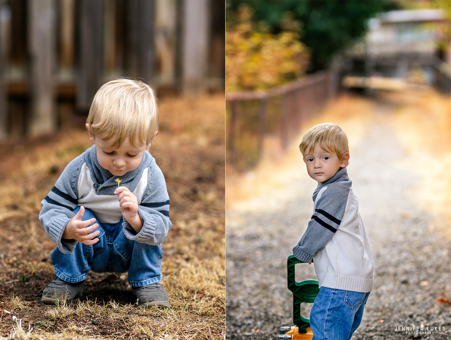 Toddler boy in shawl collar sweater outdoors picking flowers and pushing a toy lawn mower.