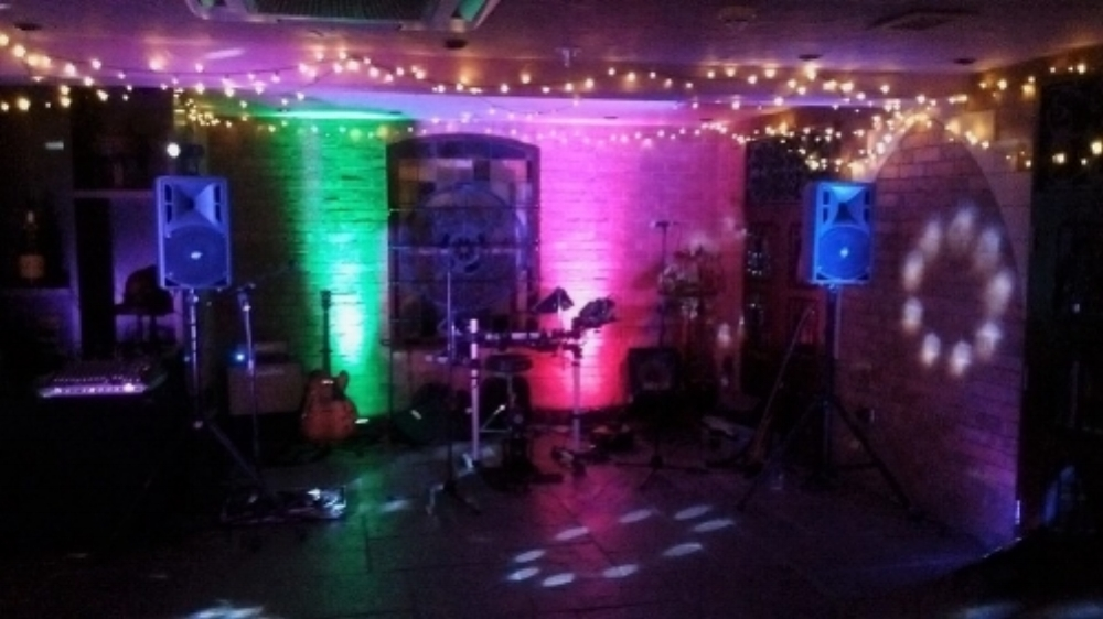 Taylormade Live Band set up with the electric drum kit at Kilworth House Wedding Venue, Leicestershire.