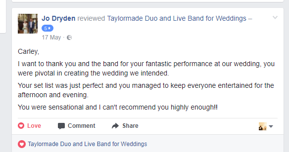 Taylormade Wedding Band Review - Jo Dryden