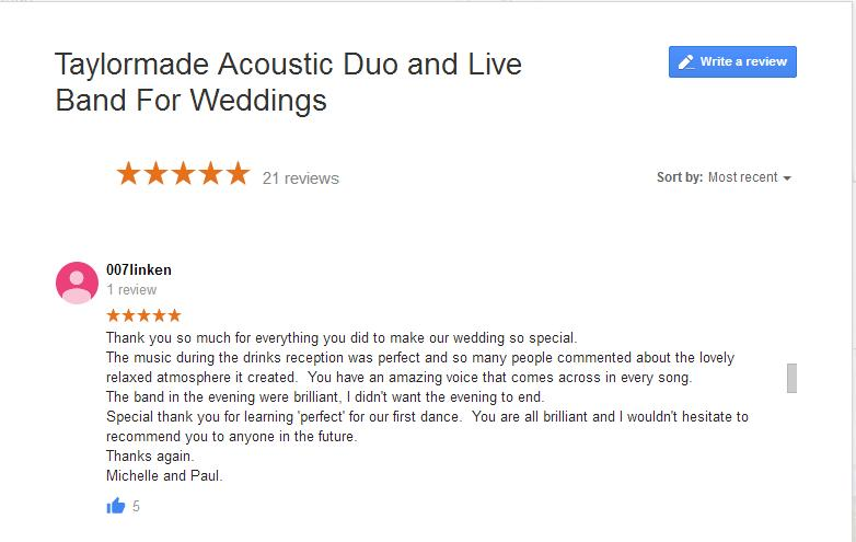 Wedding Band Review - Michelle and Paul
