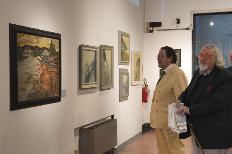 Nino Bernocco e Philippe Daverio all'inaugurazione della mostra.