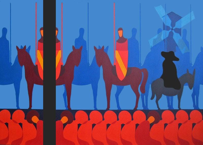 """""""Don Chisciotte della storia"""", olio su tela, cm 300x200. La figura di Don Chisciotte è molto presente in tutta la sua produzione artistica, personaggio nel quale evidentemente si rispecchia."""
