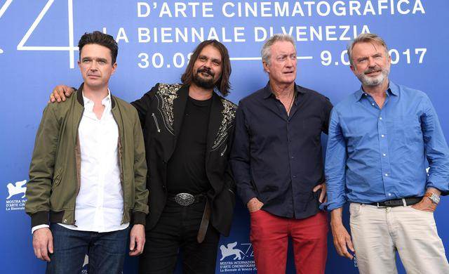 (L-R) Australian actor Matt Day, Australian film director Warwick Thornton, Australian actor Bryan Brown and New Zealand actor Sam Neill pose during a photocall for 'Sweet Country' during the 74th Venice Film Festival in Venice, Italy, 06 September 2017. The movie is presented in the official competition 'Venezia 74' at the festival running from 30 August to 09 September 2017.  ANSA/CLAUDIO ONORATI