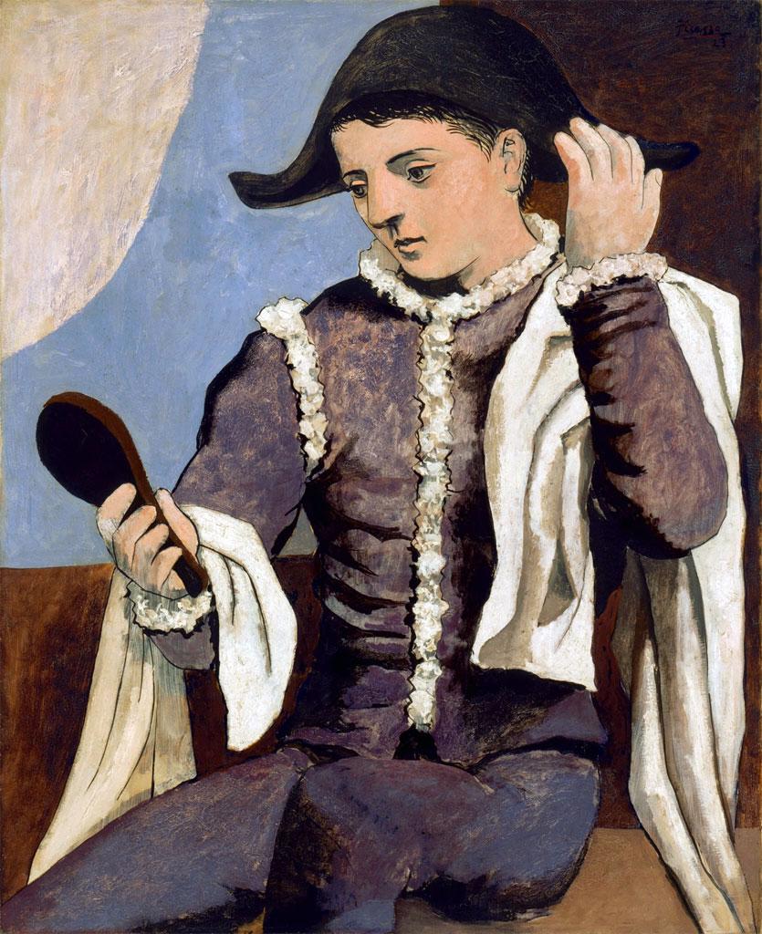 Arlecchino con specchio, 1923, olio su tela, 100 x 81 cm.
