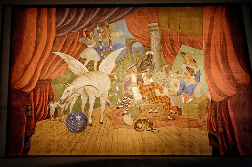 """Sipario per il balletto """"Parade"""", 1917, tempera su tela, 1050 x 1640 cm."""