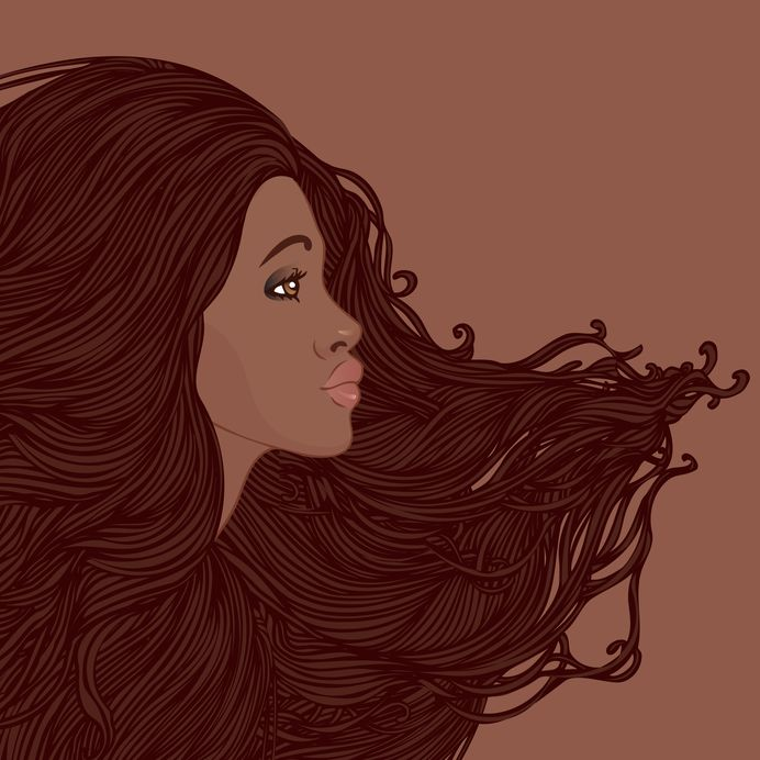 Black Woman with Flowing Magica Hair Looking Forward