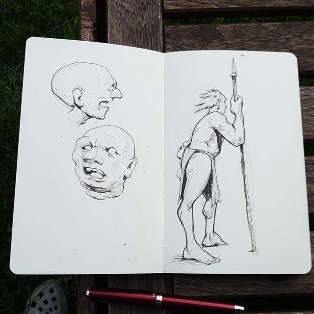 #sketchbook #drawingoftheday #inkdrawing #pilotfalcon #caveman