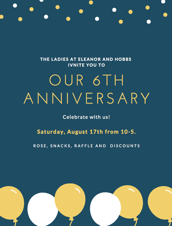 Please stop by to celebrate with us.  Rose, Snacks, Raffle and Discounts!