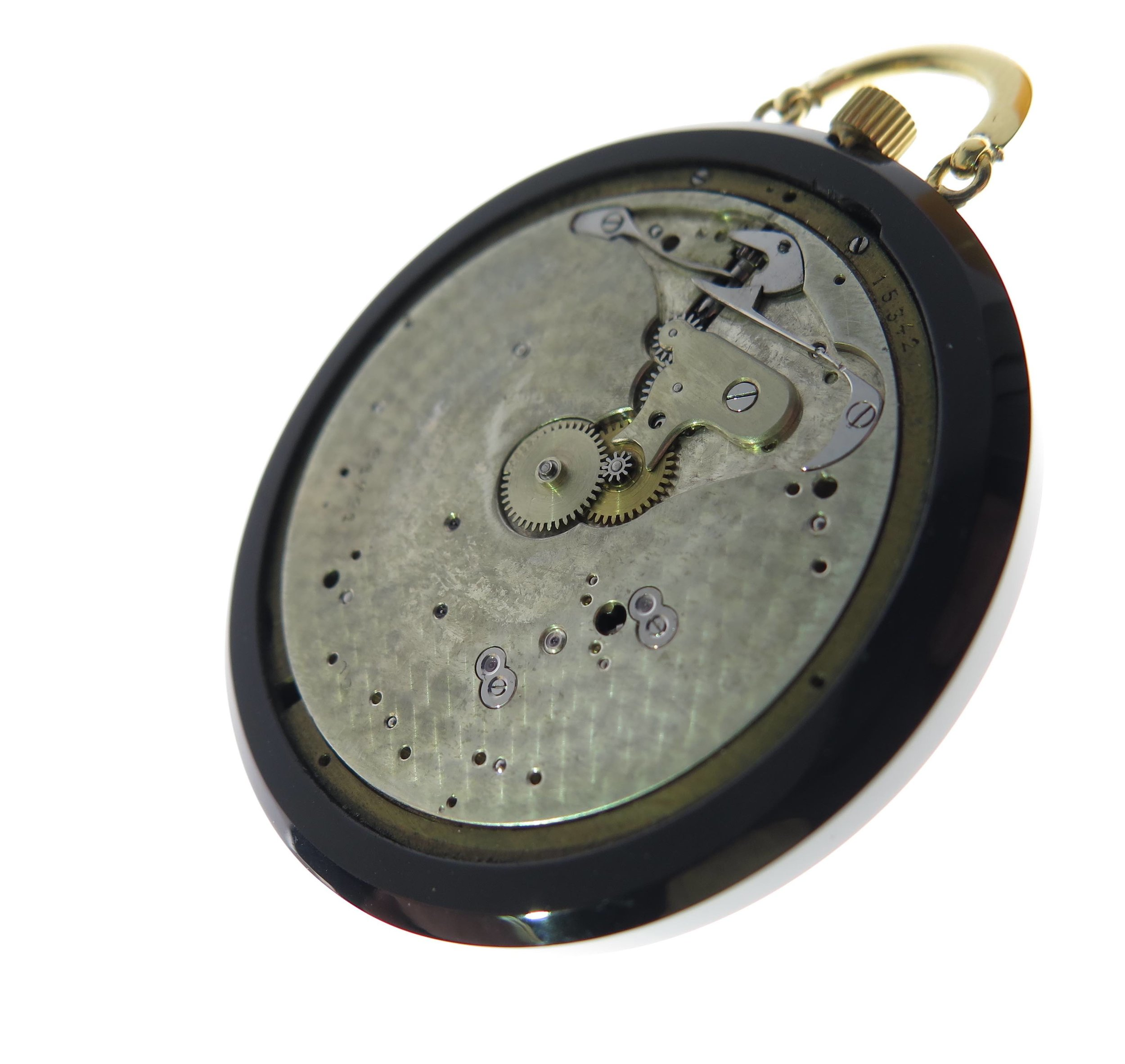 The movement viewed in the case with out the dial