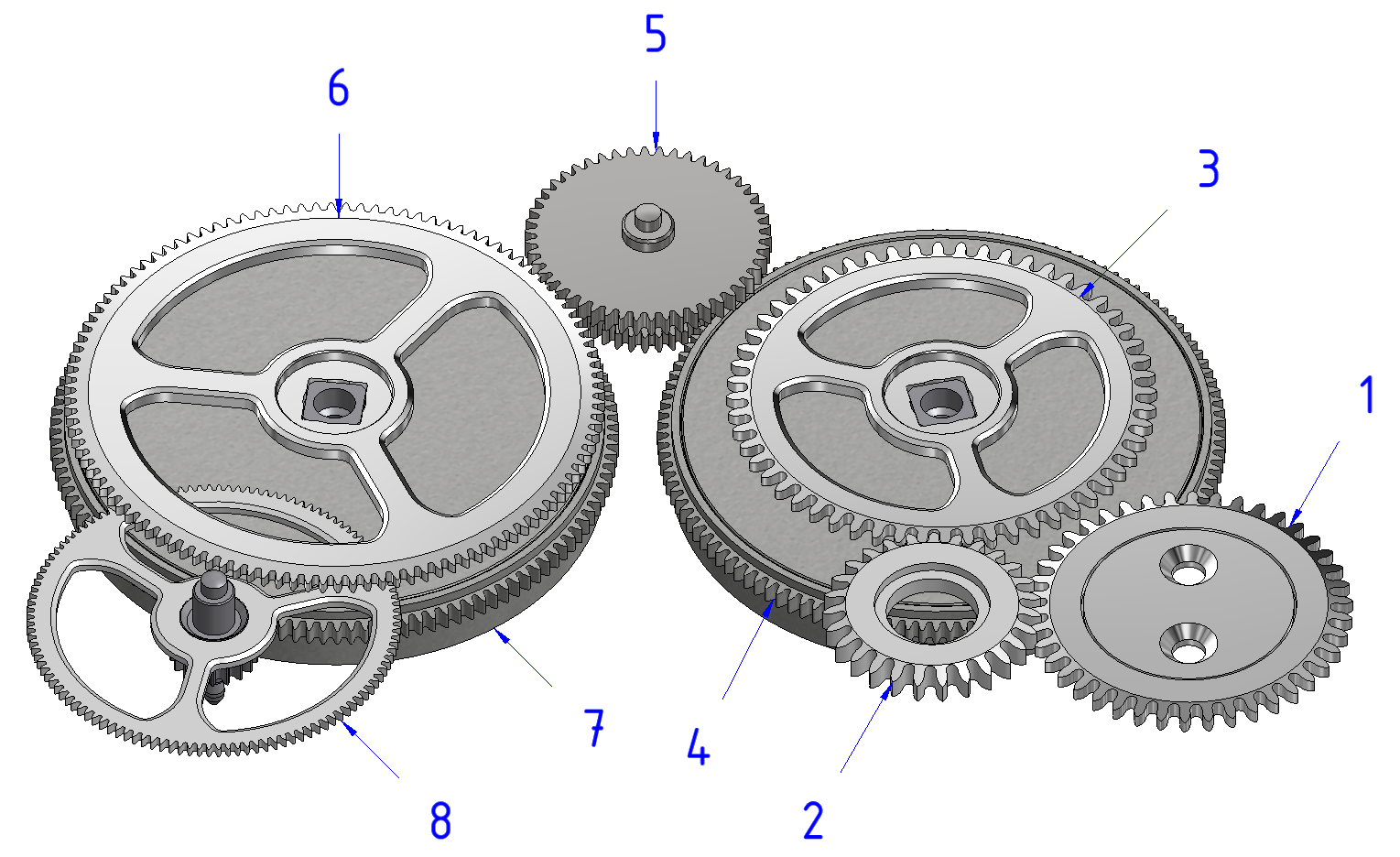 The first barrel (7) is the only one which drives the gear train (8). When its torque falls below a certain percentage of that of the second barrel (4), the latter compensates for the lack of torque of the first barrel (7).During winding, the ratchet (3) is driven by the reversing gear (2) which transmits the rotation of the upper crown wheel (1). The ratchet wheel 3 winds the second barrel (4) and when its torque is sufficient, the latter rotates and drives the intermediate wheel (5). This wheel (5) rotates the ratchet (6) and thus makes it possible to wind the two barrels (7 and 4) until they are fully wound.