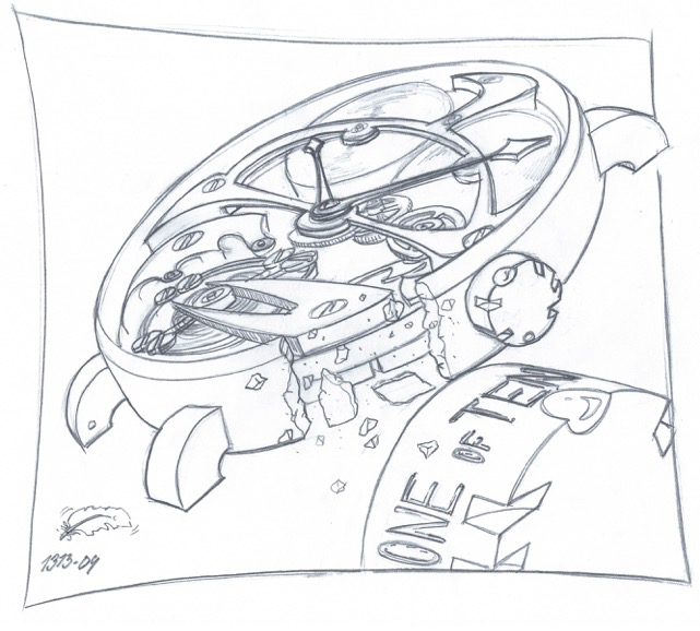Hand sketch from the first series of Tuscar by Finish watchmaker Marko Makinen.