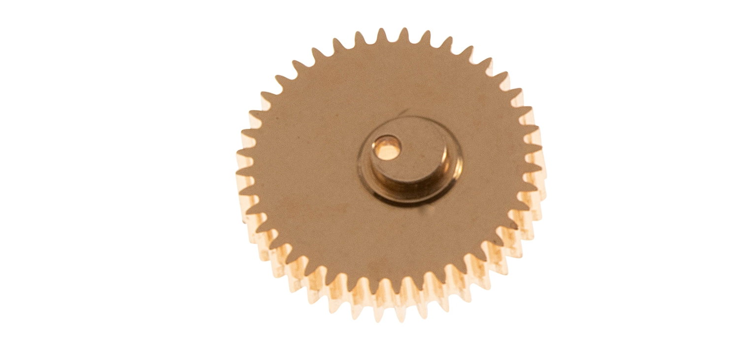 The winding pinion with cam which activates the scissor lever.