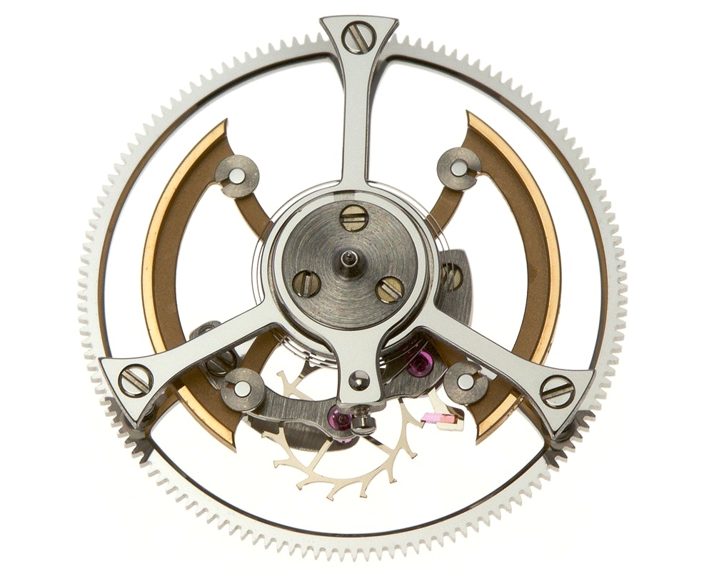 Traditional Swiss lever escapement with free-sprung balance adjusted by maslots.