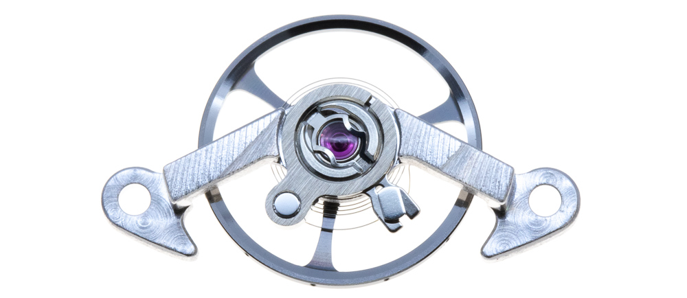 The balance wheel oscillates at a frequency of 4 hertz, (28,800 vibrations/hour).