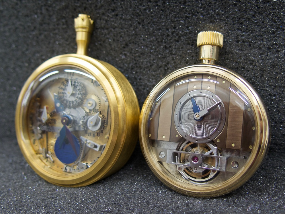 The watch on the left is a full calendar pocket watch. On the right a tourbillon with off-centre time indication.