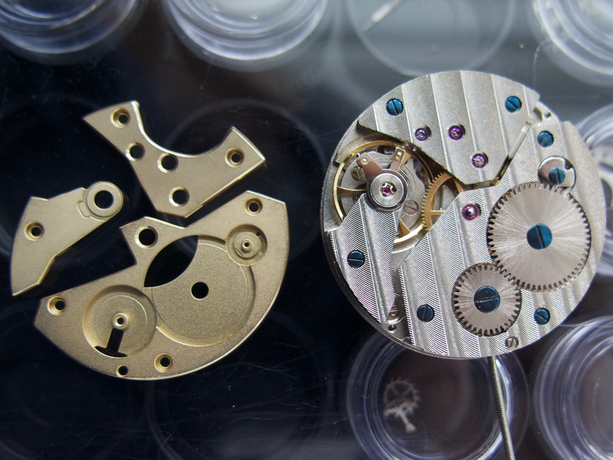 To the right, the standard industrially finished calibre.