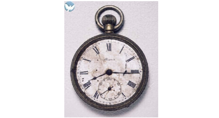 Pocket watch - Donator Kazuo NikawaReceiving date 1975/06/28Distance from hypocenter 1600mLocation Yoshijima, Funairi, Kan-on areasKengo Nikawa (then 59) was exposed to the bomb on the way to his assigned building demolition site in the center of the city… He died on August 22. Kengo was never without this watch given him by his son.(extract from HPMM digital archives #3502-0010)© Hiroshima Peace Memorial Museum