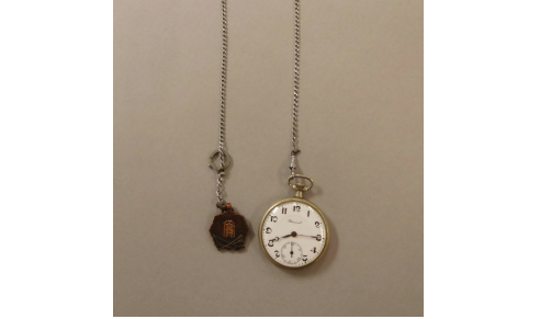 Pocket watch - Donator HIRONAKA MasakiReceiving date 2016/8/2Mr. Hajime Hironaka (37 years old at the time), the donor's father, was in a train on his way to work when the bomb exploded. He was burned by the heat rays, and shards of window glasses of the train shattered by the blast were stuck in many places on his back. He dipped his body in the river to alleviate his extreme pain, and struggled to go home…(Digital archive #3502-0047)© Hiroshima Peace Memorial Museum