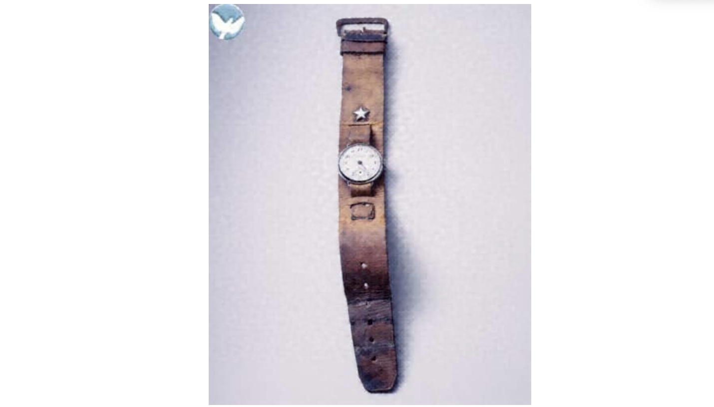 Wristwatch - Donator Kaname YatsuzukaReceiving date1959/05/30Distance from hypocenter 1250mLocation Moto-machi, Hakushima areasKaname Yatsuzuka (then, 43) was in charge of the repair shop at the Chugoku Military District Weaponry Division and experienced the bombing at the repair shop in Moto-machi… Having lost 58 of his subordinates, Kaname went to the charred ruins of the repair shop every day to dig up the remains and possessions of the personnel in his charge and deliver them to their next of kin.These objects were preserved since their owners are unknown.(extract taken from HPMM digital archive #3501-0005)© Hiroshima Peace Memorial Museum