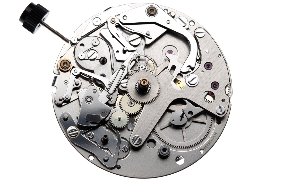 In alternative versions of the chronograph module the addition of an hour recorder can be added, here removed to allow for the moon phases wheel and mechanism.