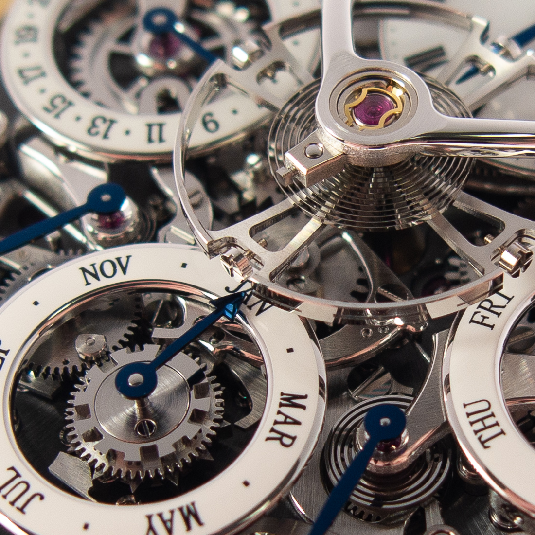 The balance oscillating above subsidiary calendar dials