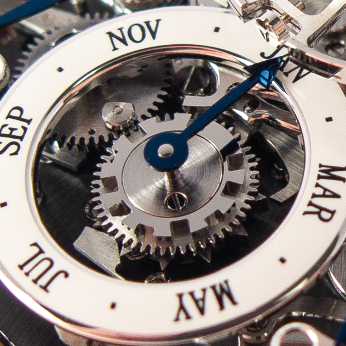 Month dial with master cam placed concentrically inside
