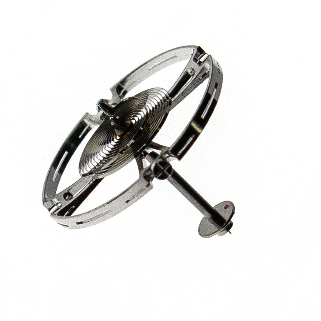 Balance wheel inclined, which has possibly the longest balance arbour ever made for a wristwatch mvt.