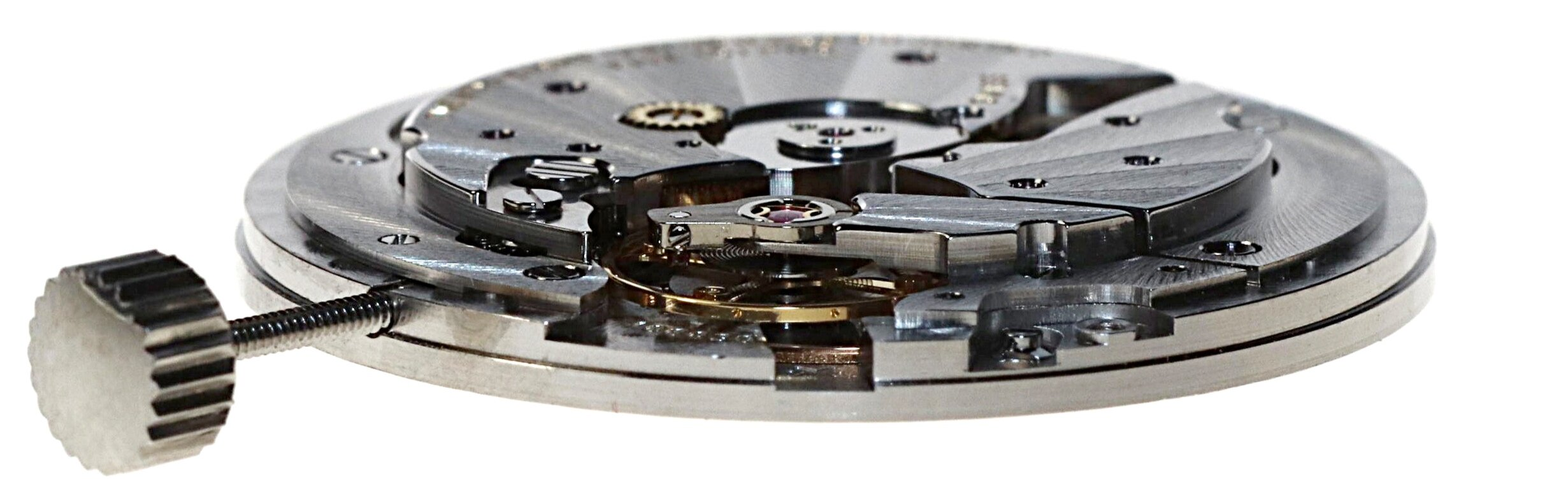 Profile view of the movement with the rotor weight removed. The step is to allow room for the rotor weight.