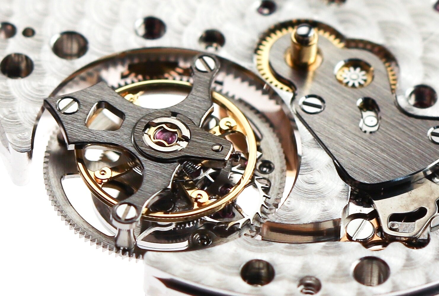 The tourbillon cage sits high above the mainplate so that it will be flush with the dial when added.