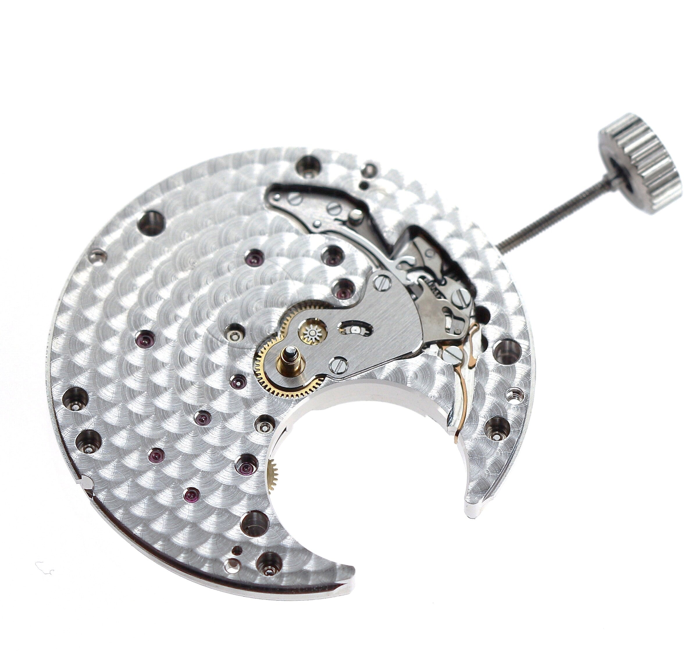 The flying tourbillon assembly removed viewed from the front of the movement