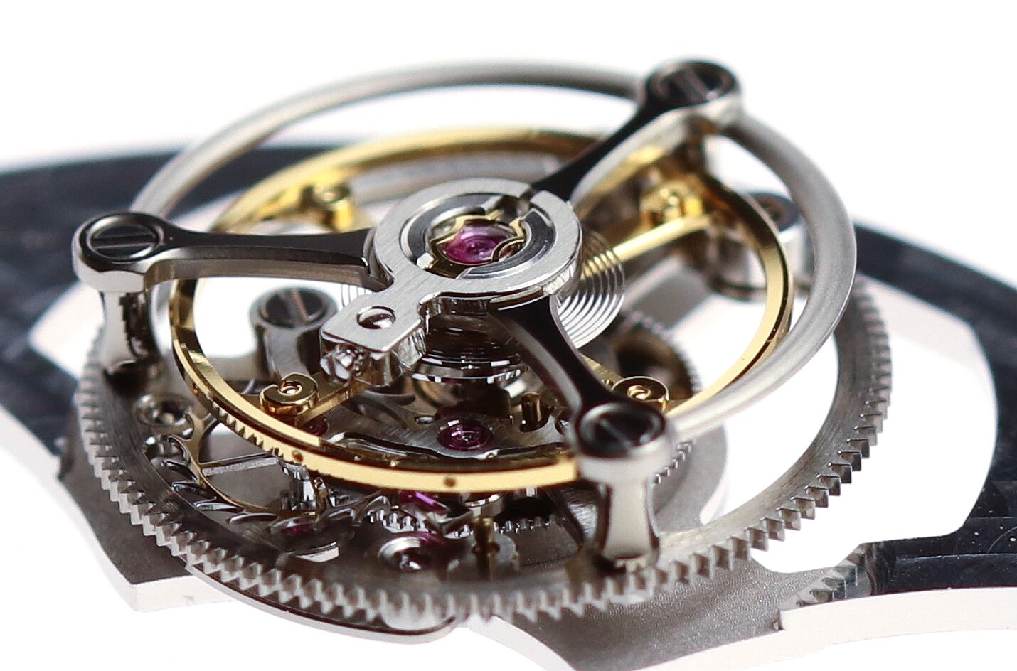 The assembled tourbillon cage separate from the movement.
