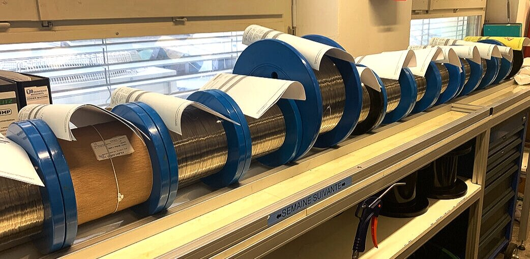Each roll of material is destined for a different calibre.